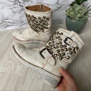 ASH whitewash embellished moto boots